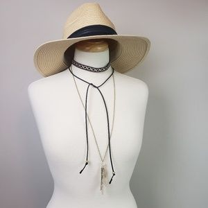 Jewelry - Embroidered Black Choker & Crystal Necklace NWT